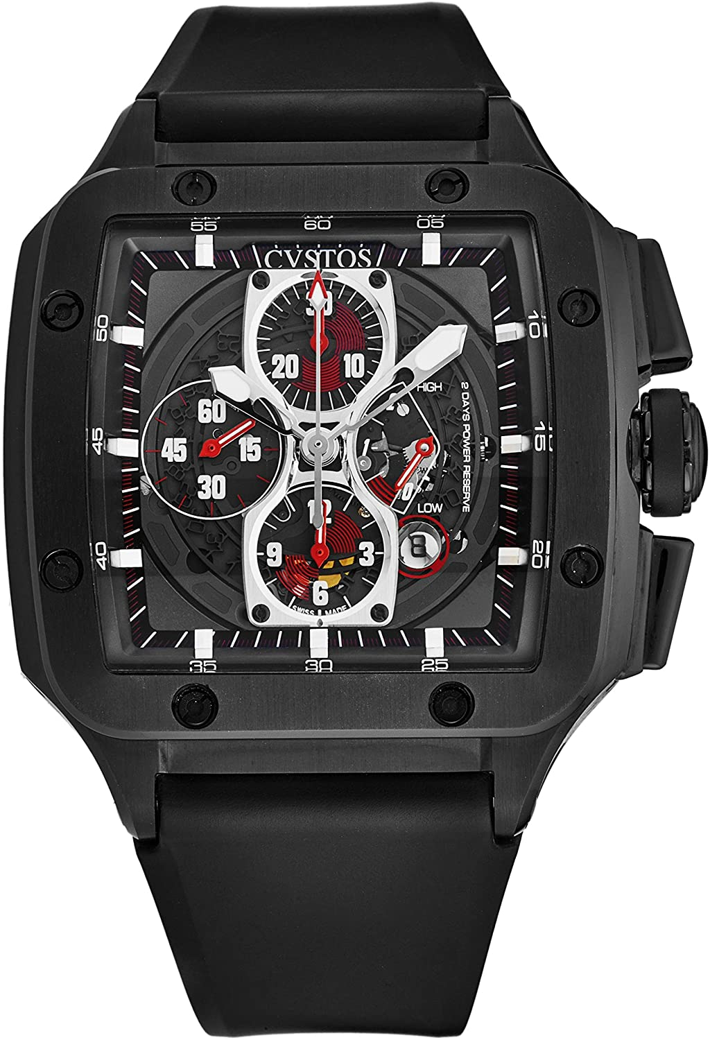 Cvstos Men's 'Evosquare 50' 2 Day Power Reserve Automatic Chronograph Watch - Black Dial with Luminous Hands and Date - Sapphire Crystal and Black Rubber Strap 8031CHE50AN 01