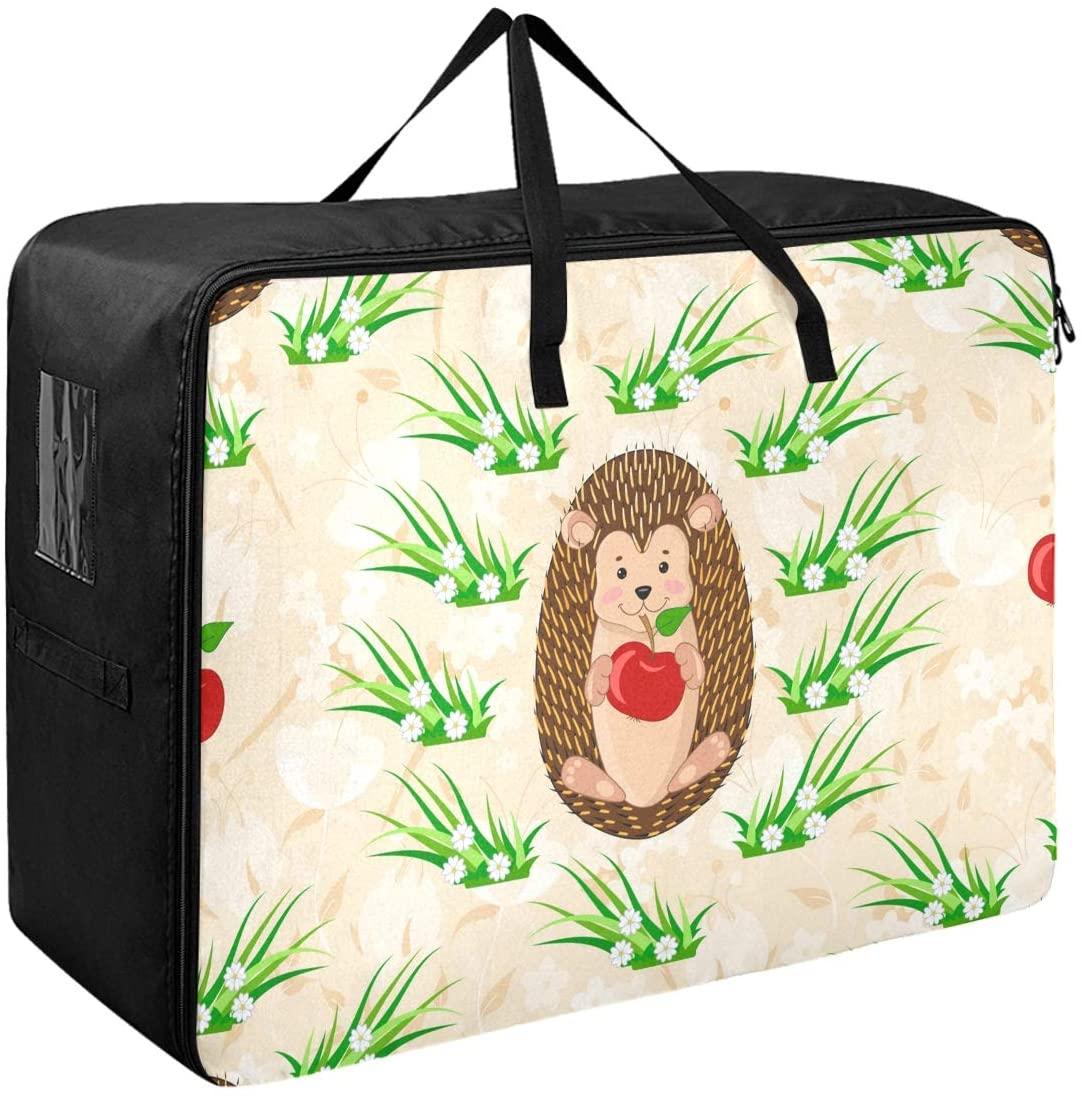 DOMIKING Under Bed Clothes Storage Bag - Cute Cartoon Hedgehogs Apple Blanket Storage Large Clothes Organizer with Zipper Closet Organization 27.6x19.7x11inch