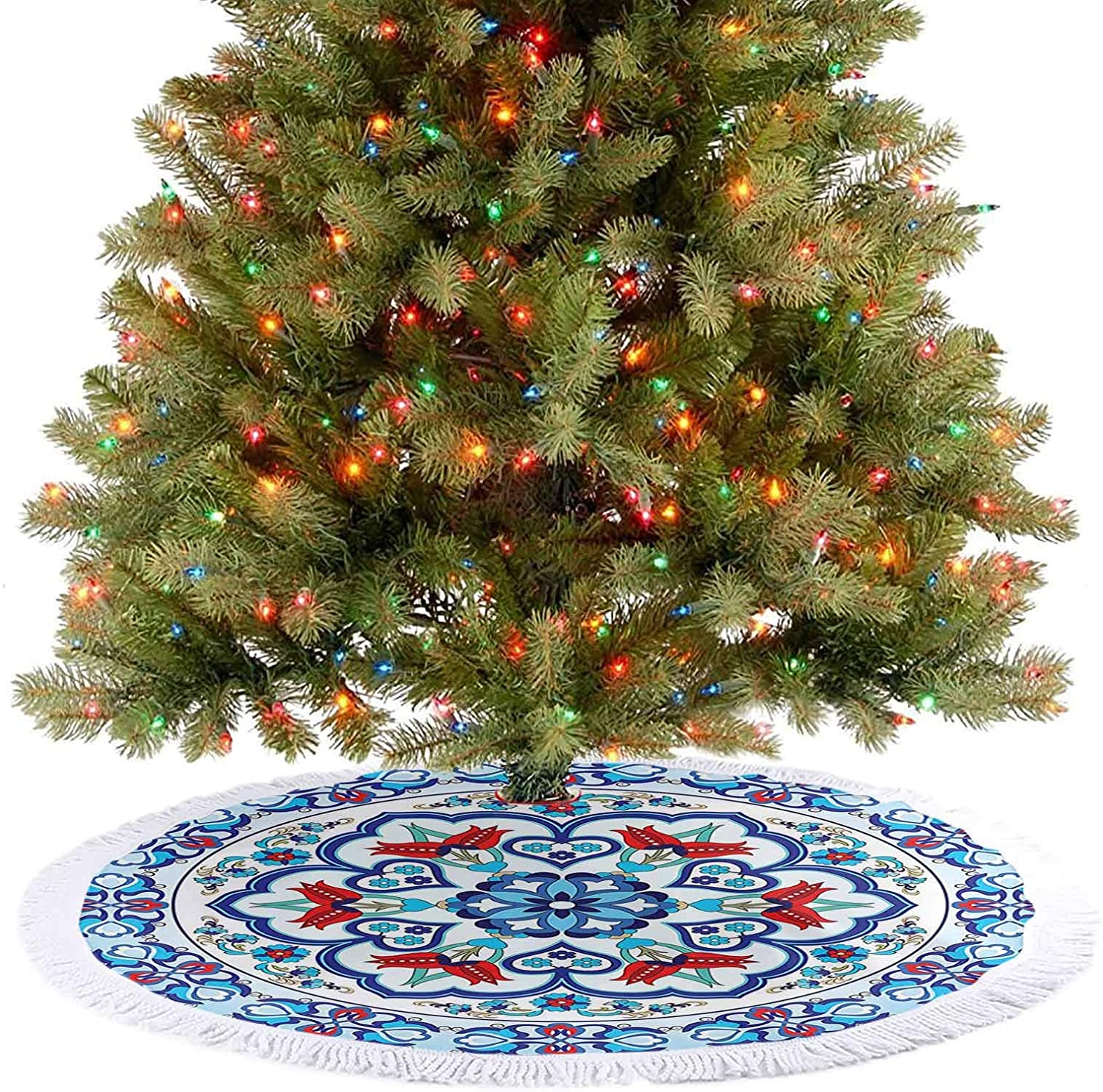 Xmas Tree Mat Ottoman Turkish Style Art with Tulip Period Ceramic Floral Art Elements European Touch Christmas Decorations for Xmas New Year Holiday Party Home - 48 Inch