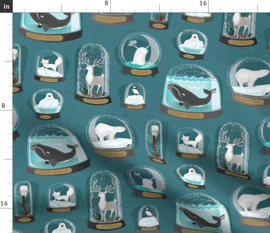 Spoonflower Fabric - Arctic Animals Animal Blue Green Endangered Whales Polar Bears Puffins Printed on Denim Fabric by The Yard - Bottomweight Apparel Home Decor Upholstery