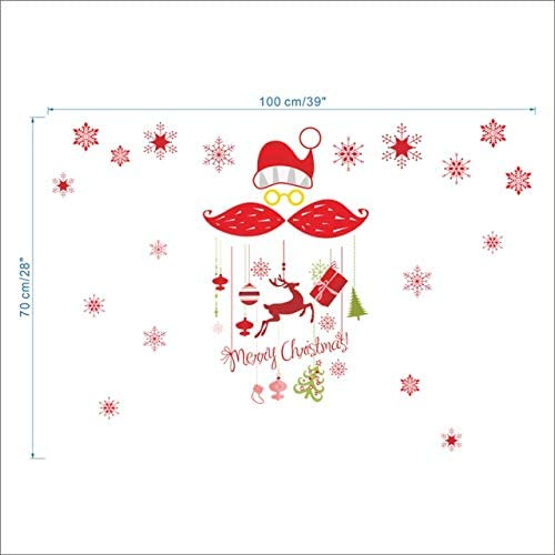 DNAKHA happyyear Tree Santa Claus Wall Stickers for Kids Rooms Home Decor Vinyl Merry Christmas Wall Decals DIY Wallpaper