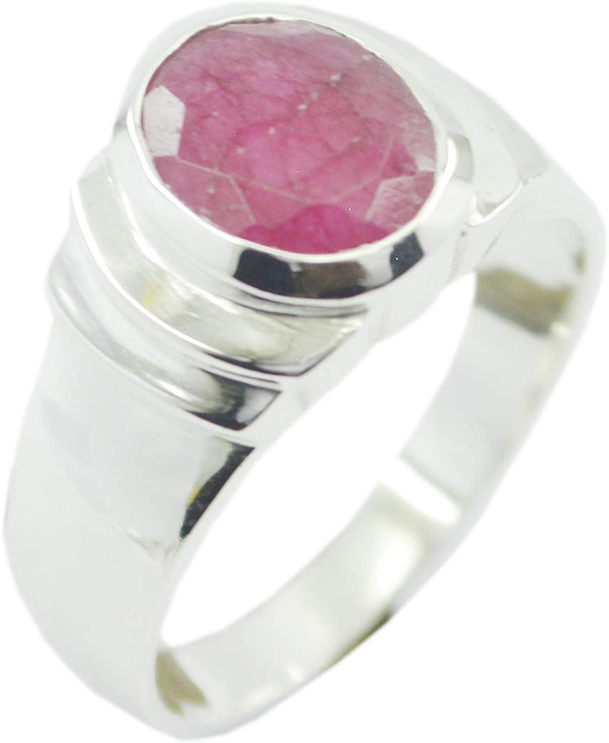 Indian 925 Sterling Silver Grand Genuine Red Ring, Indian Ruby Red Stone Silver Ring