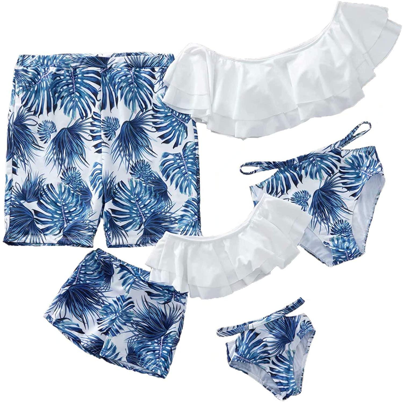 IFFEI Family Matching Swimwear Two Pieces Bikini Set 2020 Newest Printed Ruffles Mommy and Me Bathing Suits Women: L White-Blue