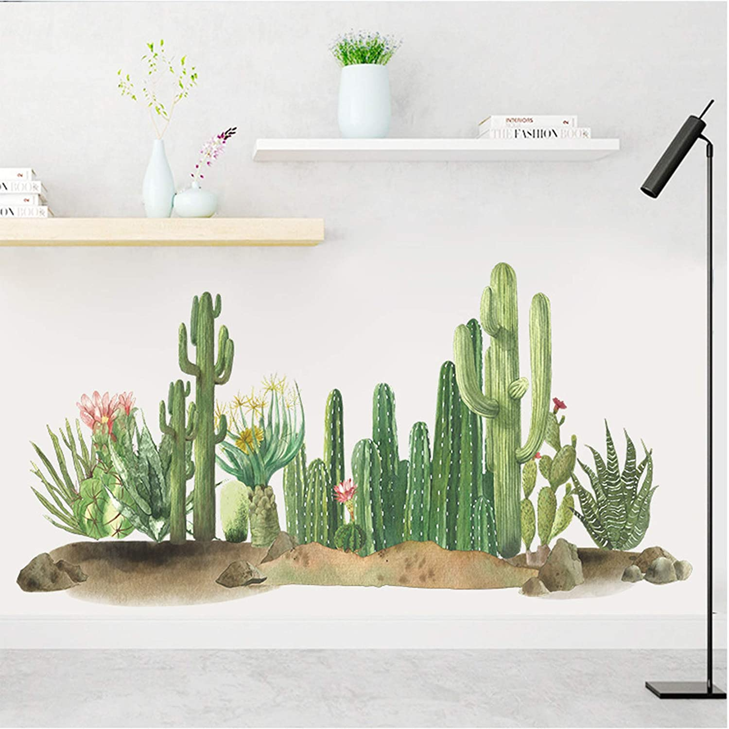 MOLANCIA Green Plants Wall Decal,Cactus Wall Stickers, Giant Cactus Succulent Wall Art Mural, DIY Removable Cactus Vinyl Wallpaper Wall Art Decor for Living Room Bedroom Kitchen Nursery Home Décor