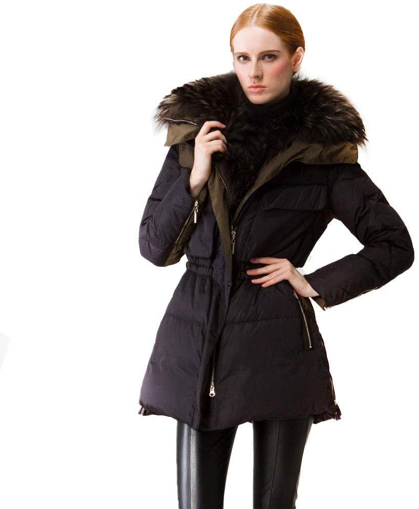 YANJ RSTJ-Sjc Women's Quilted Down Jacket Parka Outerwear Fur Hood Down Coat Lady Thicken Puffer Slim Zipper Jacket Parka Ideal. (Size : Small)