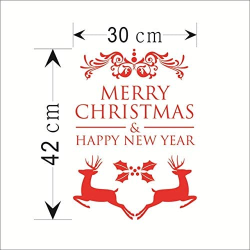 DNAKHA 2019 happyyear Wall Stickers for Kids Rooms Glass Window Home Decorations Vinyl Merry Christmas Wall Decals DIY Wallpaper