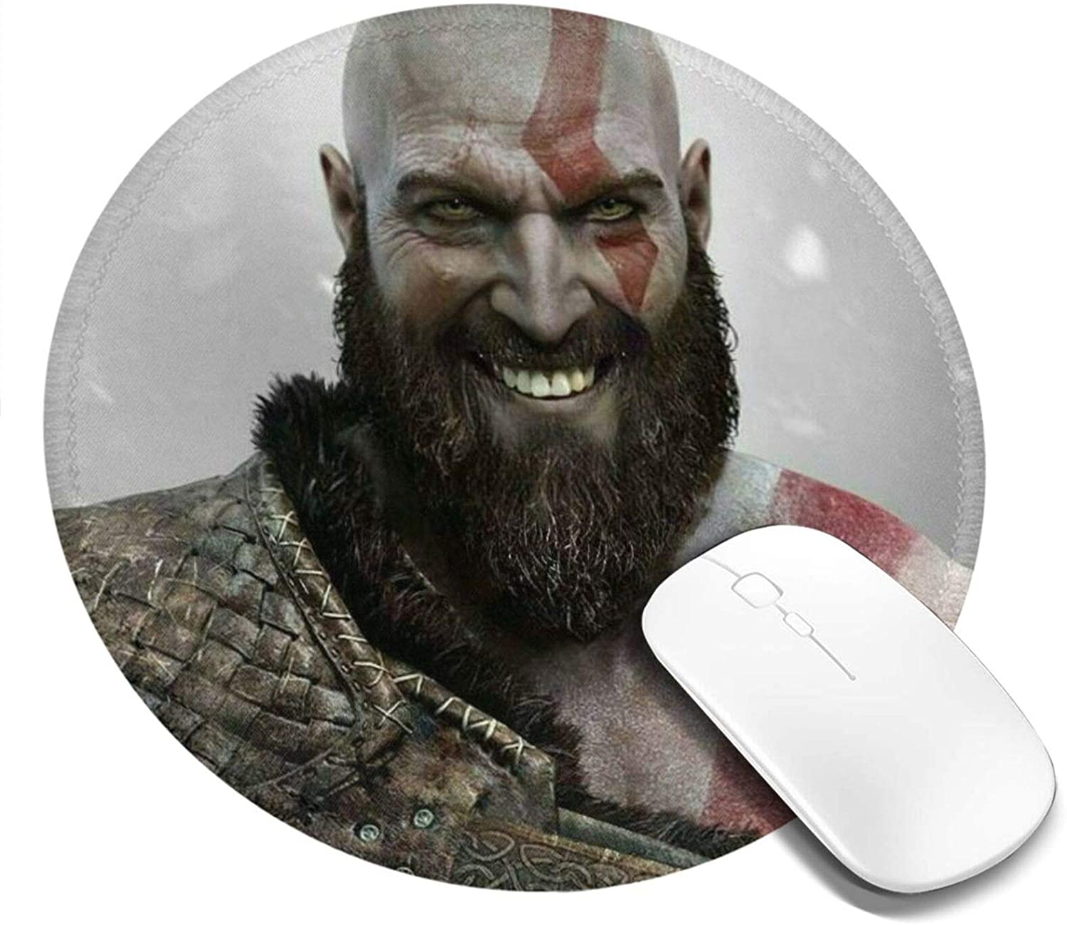 God of War Customized Designs Non-Slip Rubber Base Gaming Mouse Pads for Mac,7.9x7.9 in, Pc, Computers. Ideal for Working Or Game