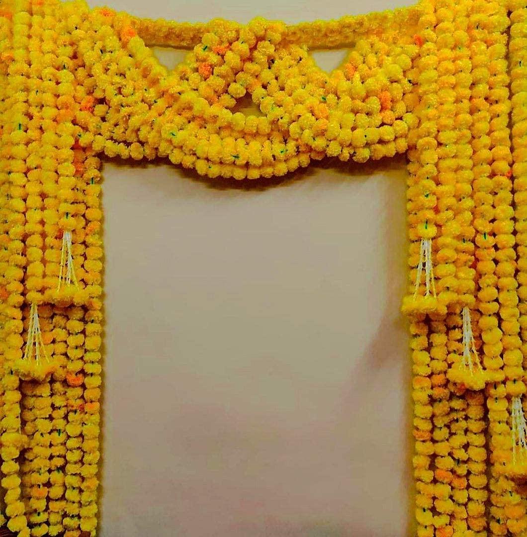 Krati Exports 5 PC - 6 feet Orange Marigold Garland |Indian/American Wedding Party Mantle Decoration, Faux Garlands Wedding Garland, Diwali Decoration, Spring Bush Floral!