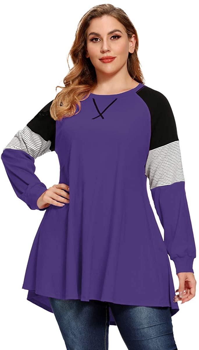 LARACE Plus Size Tops Women Pullover Sweatshirt Color Block Tee Long Sleeve Tunic Striped Raglan Shirt