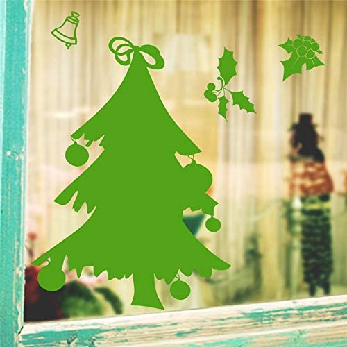 DNAKHA happyyear Wall Stickers for Kids Rooms Glass Window Home Decor Green Christmas Tree Bell Wall Decals Vinyl Wallpaper