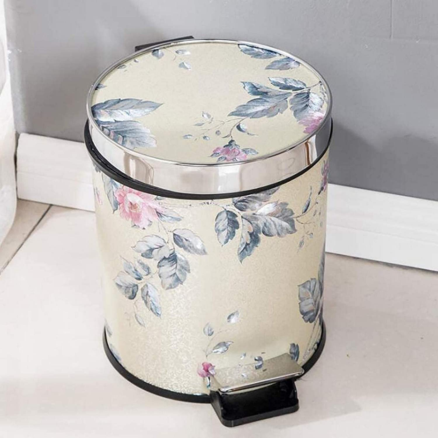 NSYNSY Step Trash Can with Lid,Leather Pedal Garbage Can,dustbin Plastic Wastebasket with Removable Inner Buckets for Bathroom Kitchen Office L 25x25x30cm(10x10x12inch)