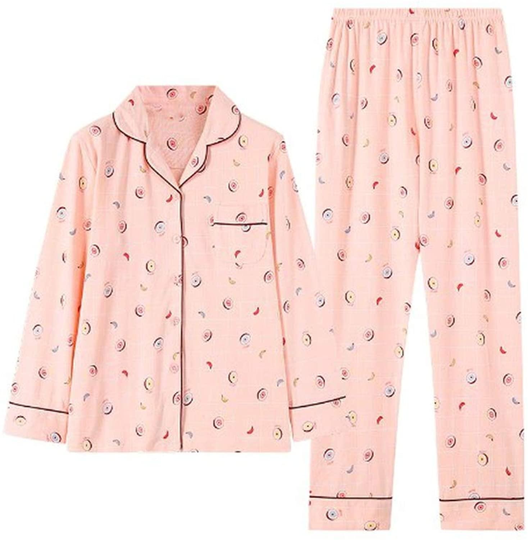 Ashley-OU Pajamas for Women Homewear Clothes Knitted Cotton Pijama Long Sleeve Turn Down Collar Sleepwear