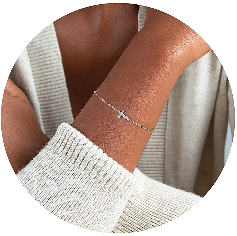 Tewiky 14k Gold/Silver Plated Sideway Cross Evil Eye Bracelet Flexible 5MM Flat Snake Herringbone Chain Tiny Beads Bracelet for Women Girls