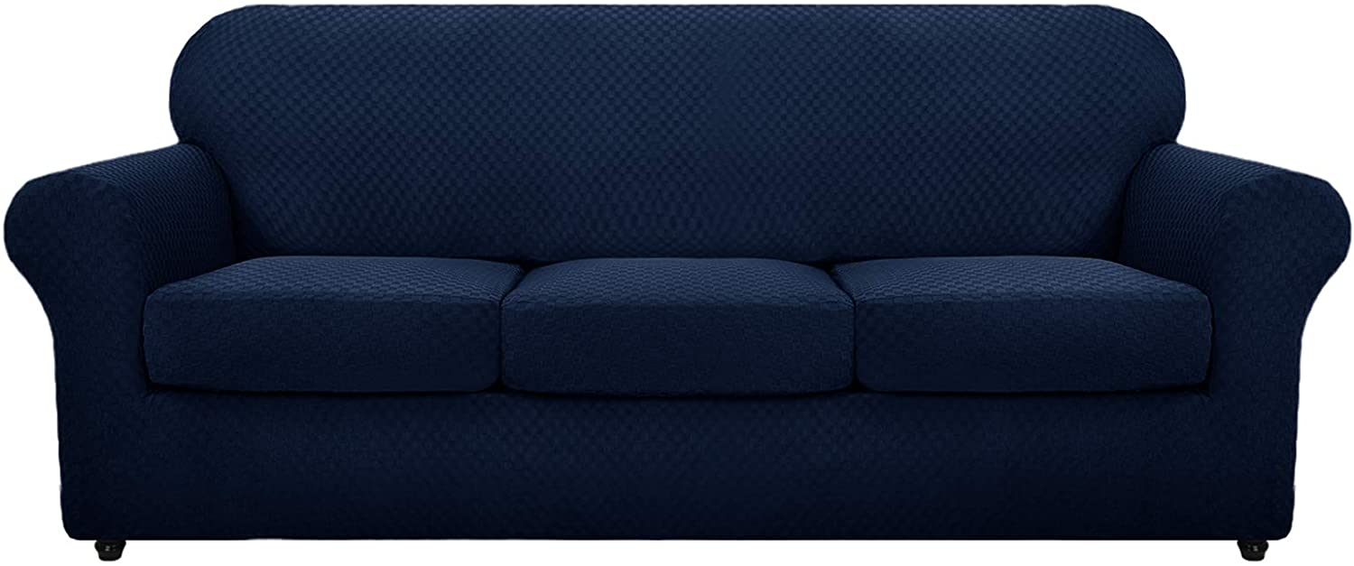 MAXIJIN 4 Piece Newest Jacquard Extra Large Couch Covers for 3 Cushion Couch Super Stretch Non Slip Couch Cover for Dogs Pet Friendly Sofa Slipcover Furniture Protector (Oversized Sofa, Navy Blue)