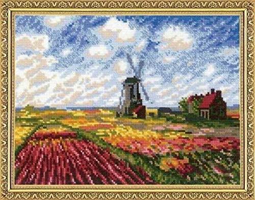 Tulip Fields 14ct 130x100 Stitch 52x59 cm Cotton Monet Tulip Field Counted Cross Stitch Kit