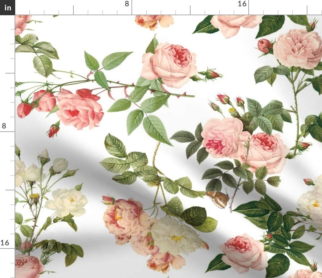 Spoonflower Fabric - Vintage Pink Rose Garden Roses Printed on Cotton Poplin Fabric by The Yard - Sewing Shirting Quilting Dresses Apparel Crafts
