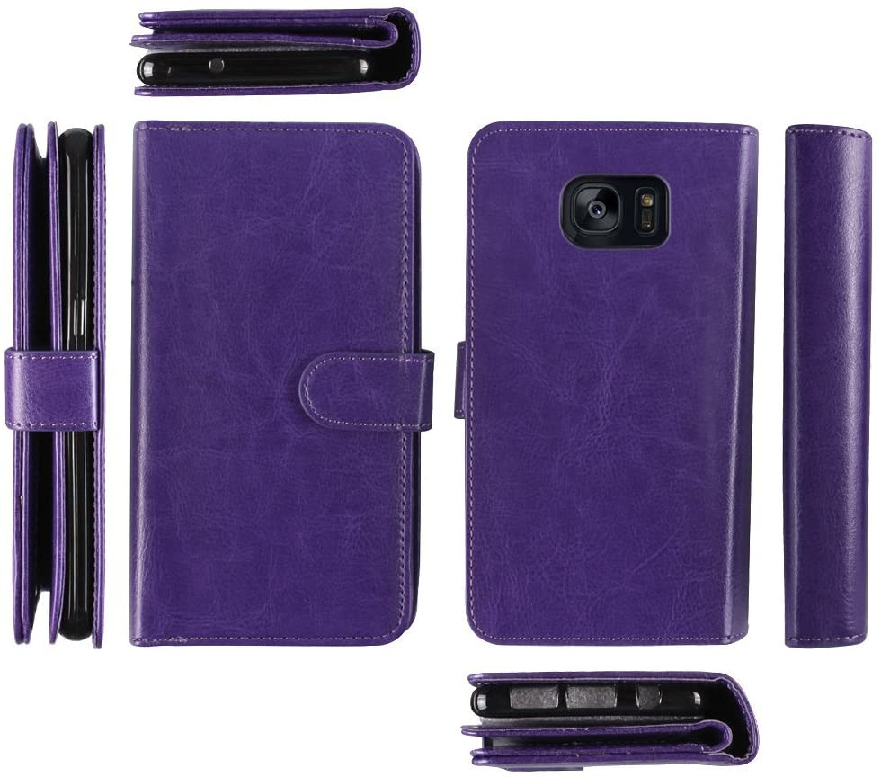 NextKin Premium Leather Magnetic Wallet Cover Case with Extra Privacy Flap Card Slot Holder For Samsung Galaxy S7 Edge G935, Purple