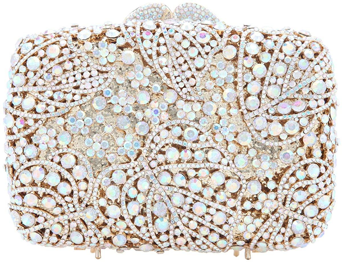 Fawziya Luxury Crystal Clutch Palm Leaves Evening Bags For Women Formal