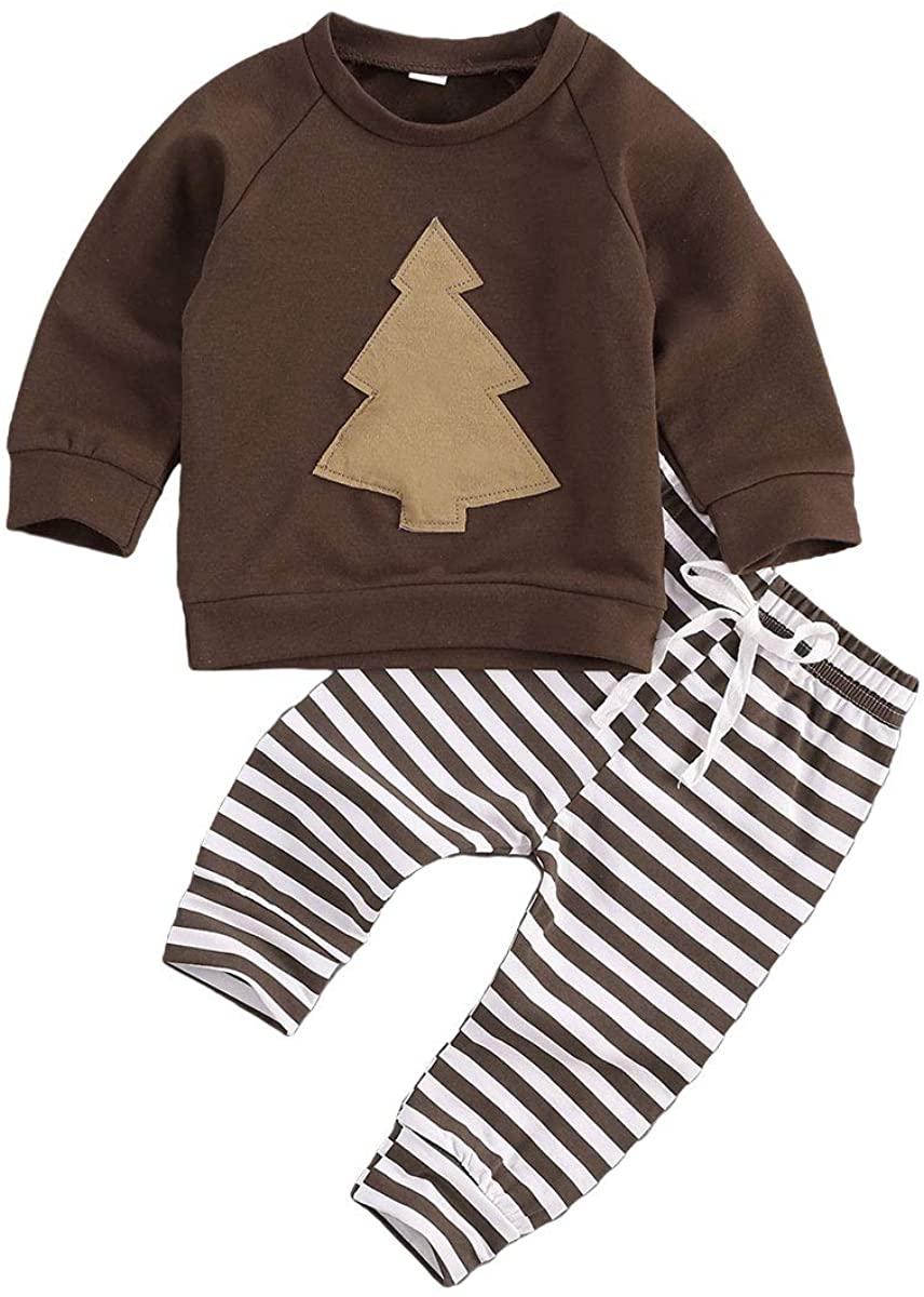 Newborn Baby Girls Boys Christmas Outfit Long Sleeve Xmas Tree Pullover Top+ Striped Pants Baby Girl Pajamas Set 2Pcs