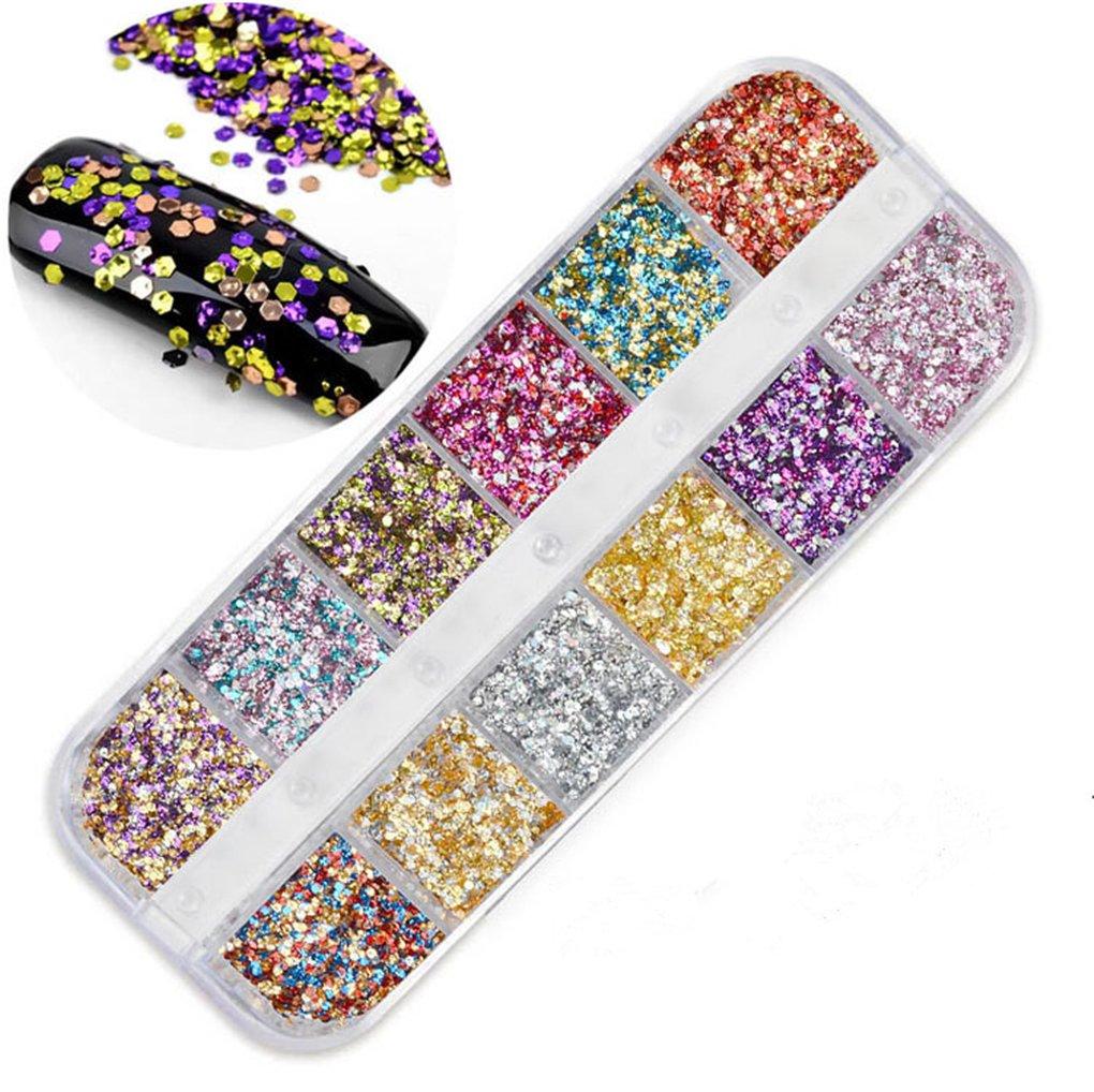 RoseFlower 1 Boxes 12 Grid Nail Art Glitter sequins Rhinestones Kit, Premium Multicolor Nail Art Glitter Rhinestones Manicure Nail Art Decorations#6