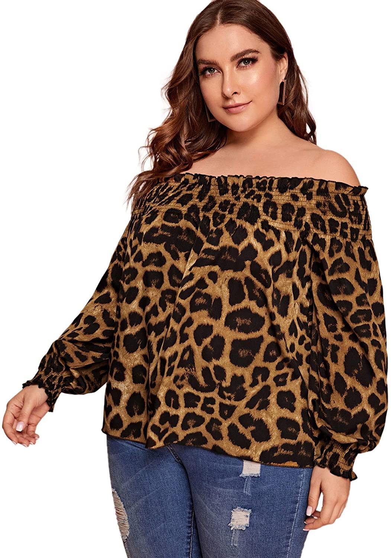 Floerns Women's Leopard Print Plus Size Off Shoulder Blouse Top