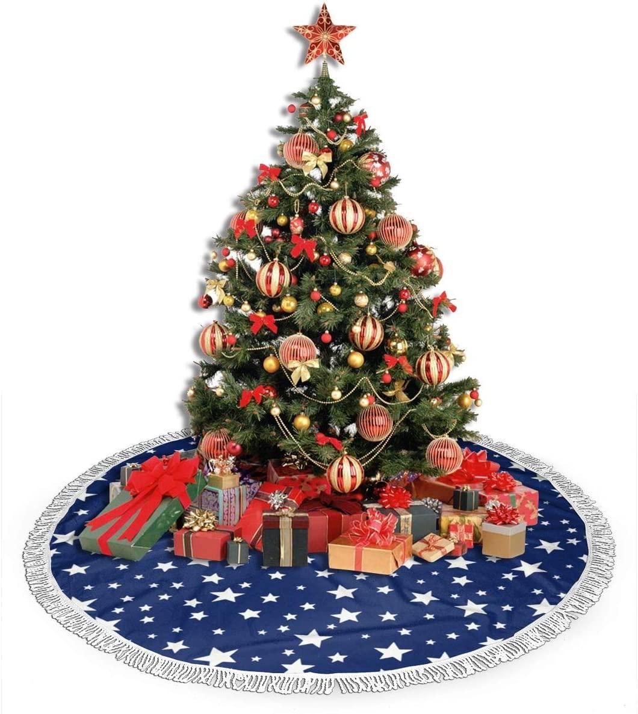 ZJBLHEQ Christmas Stars Navy Blue Christmas Tree Skirt Decoration 48 Inch Round Xmas Tree Mat for Home Holiday Party Yard Ornaments