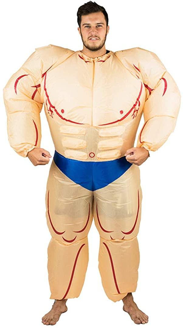 Bodysocks Adults Inflatable Bodybuilder Fancy Dress Costume