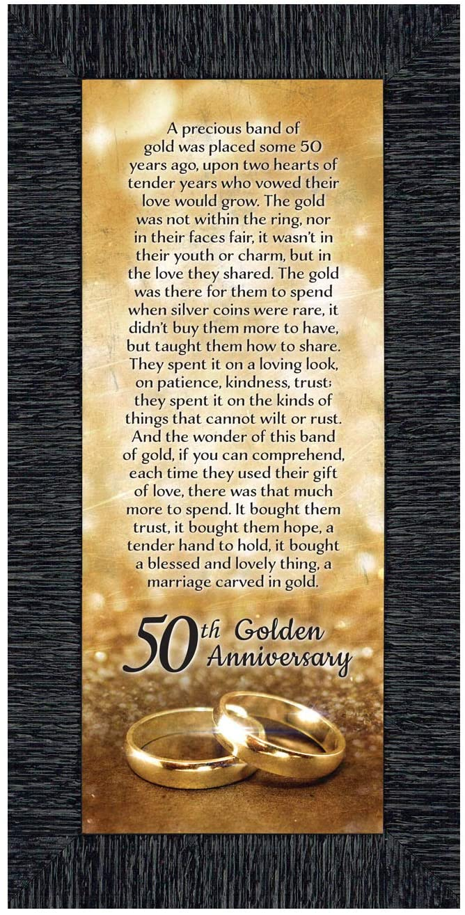 Crossroads Home Décor 50th Wedding for Parents, 50th Anniversary Decorations for Party, Golden Anniversary 50 Year Gifts, 50th for Couples, Gift add to Your 50th Anniversary Card 7318CH