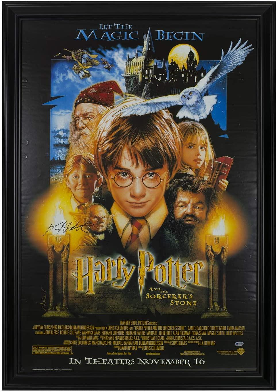 Daniel Radcliffe Signed Framed Harry Potter Sorcerers Stone Movie Poster BAS
