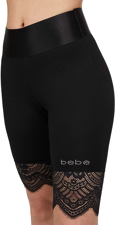 bebe Womens Logo Basic Summer Shorts Lace High Waist Leggings for Women Bike Shorts