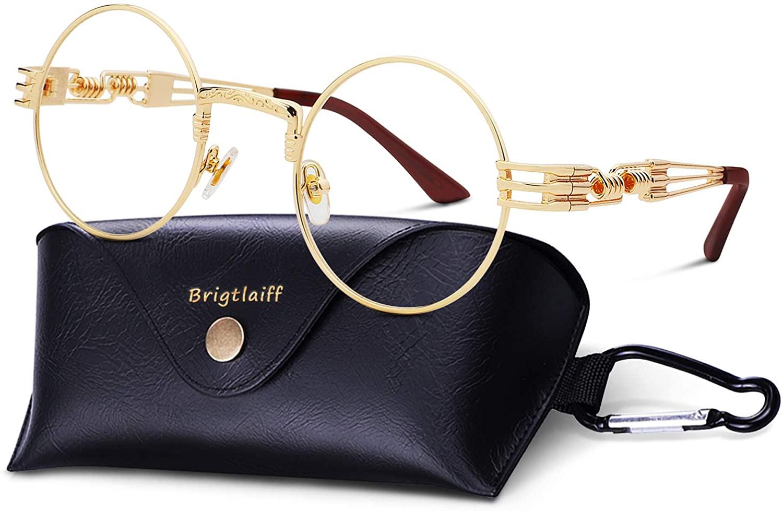 Brigtlaiff Retro Round Steampunk Sunglasses for Men Women John Lennon Style Quavo Glasses Circle Metal Frame Sun Glasses