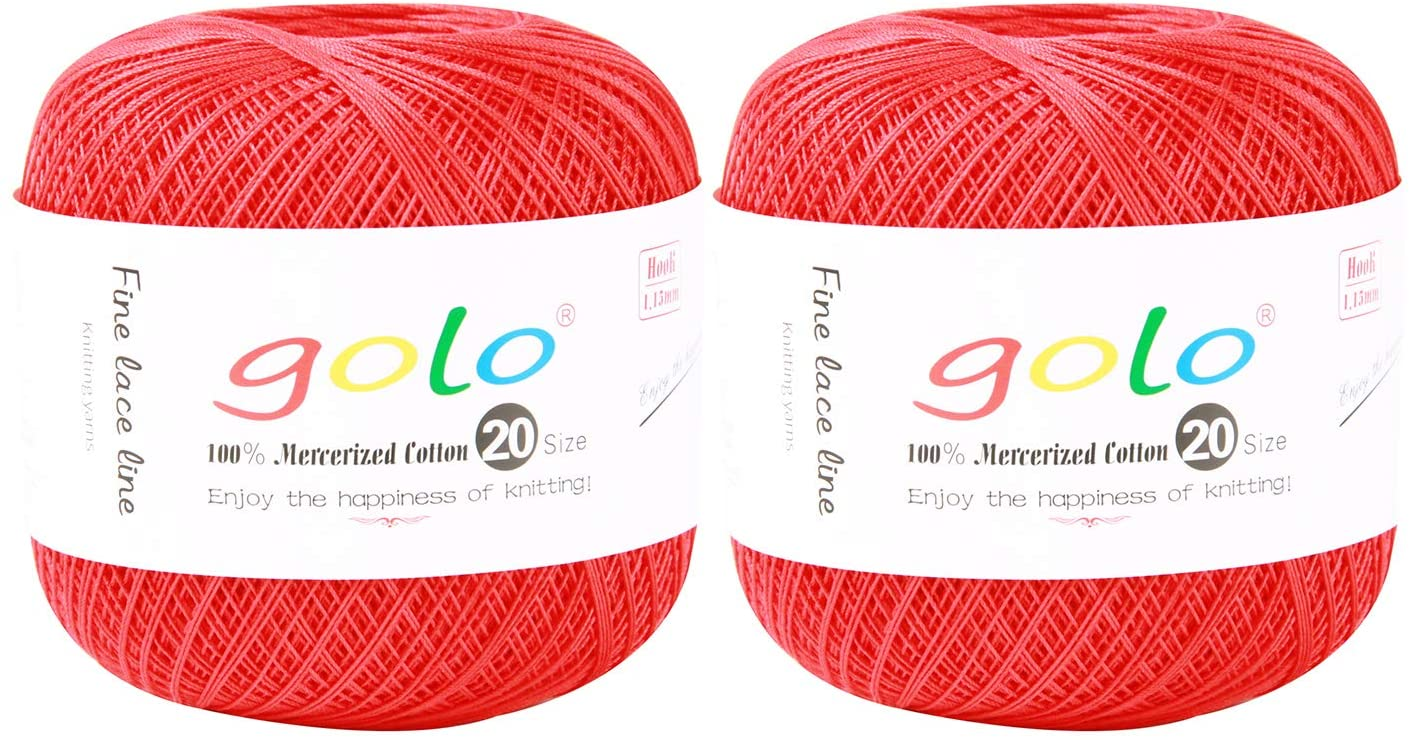 golo Crochet Thread Yarn for Hand Knitting Size 20 (Pack-2) (Red)
