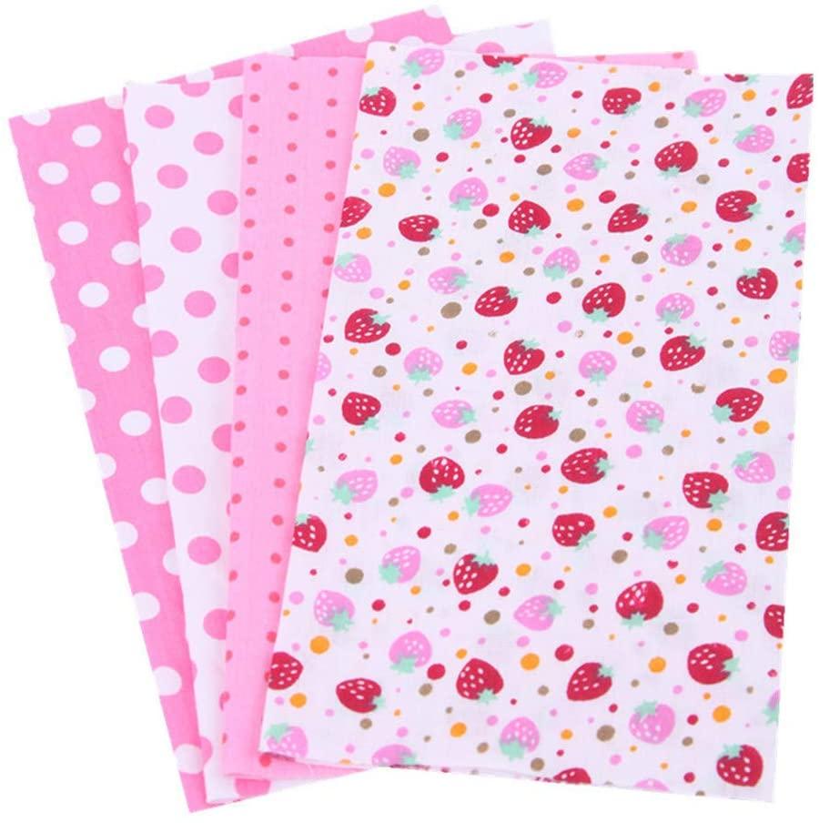 4pcs 100% Cotton Craft Fabric Bundle Patchwork, Quilting Sewing Patchwork Beautiful Pattern Cloths for DIY Scrapbooking Artcraft 7.8x9.8 (#14)