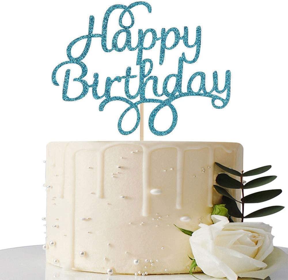 Blue Glitter Happy Birthday Cake Topper, Birthday Party Decorations
