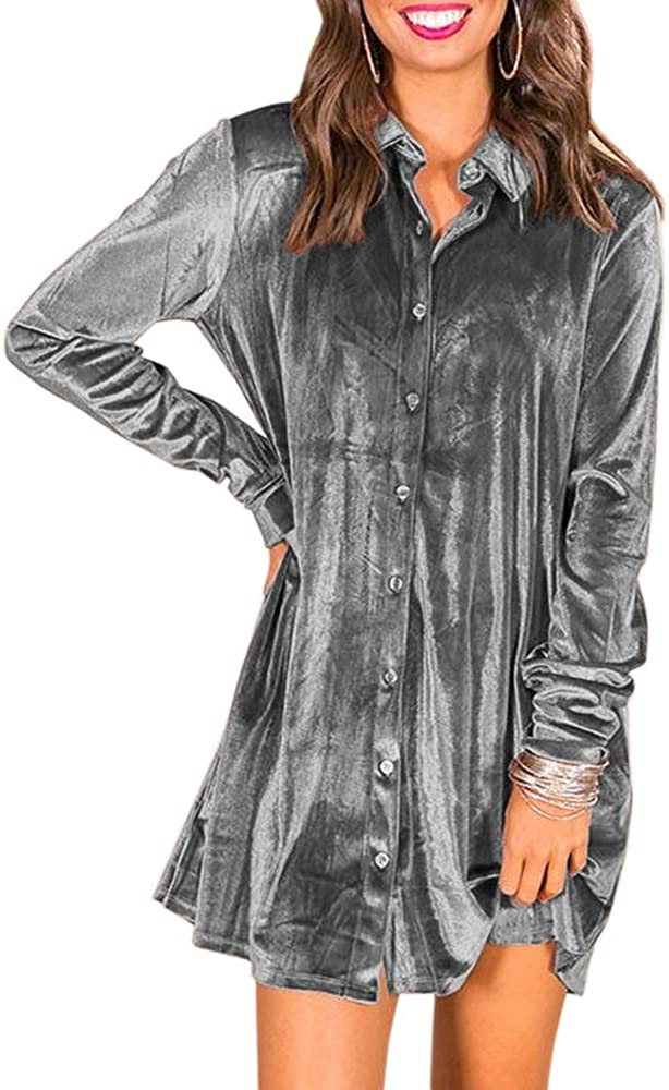 Ivay Women's Spring Button Down Tshirt Dresses Velvet Tunic Dress with Pockets