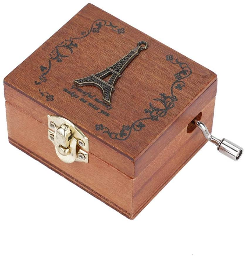 1PC Wooden Hand Crank Music Box, A Great Gift for Birthday Christmas or Valentine's Day, 4 Pattern: Elephant, Tower, Ballet, Owl (Optional) (Tower)