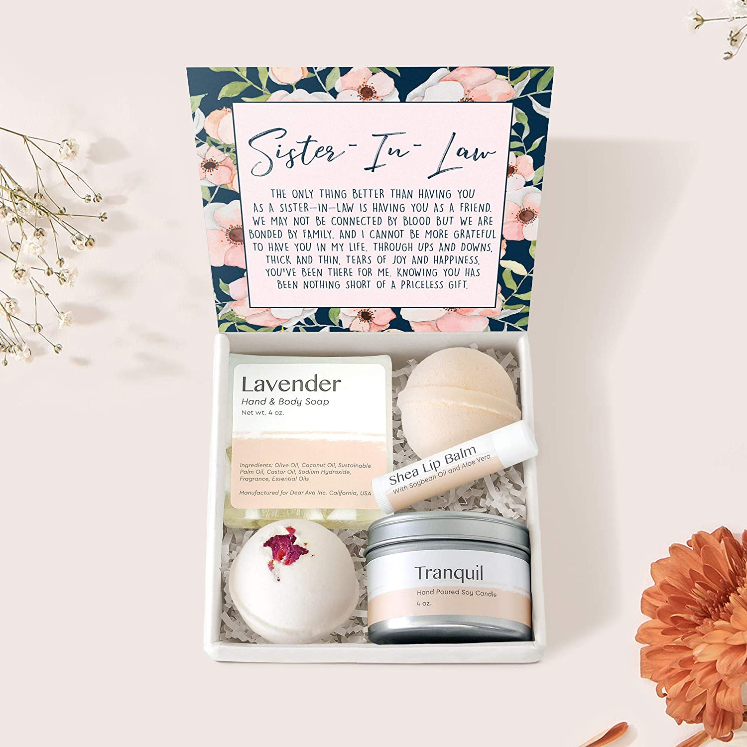 Sister-In-Law Gift Box Set - Heartfelt Card & Spa gift box for Birthday, Holidays
