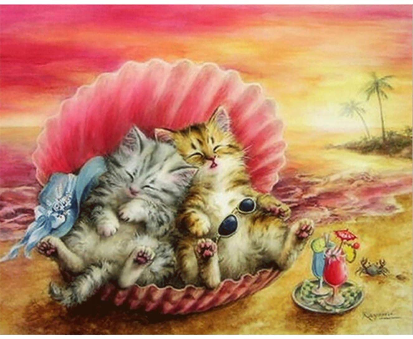 Bimkole DIY 5D Diamond Painting Kit Cat Sunset Beach by Number Kits Paint with Diamonds Arts DIY for Home Decor, 12X16 inch(m3-519)