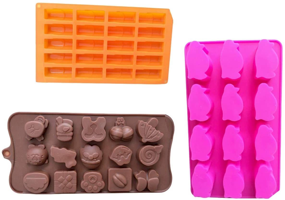 N / A Silicone Fondant Jelly DIY Molds Penguin Molds Different Shapes Candy Gummy Lipstick Non-Stick Mold Set, 3 Pcs, for Homemade Cake DIY Polymer Clay