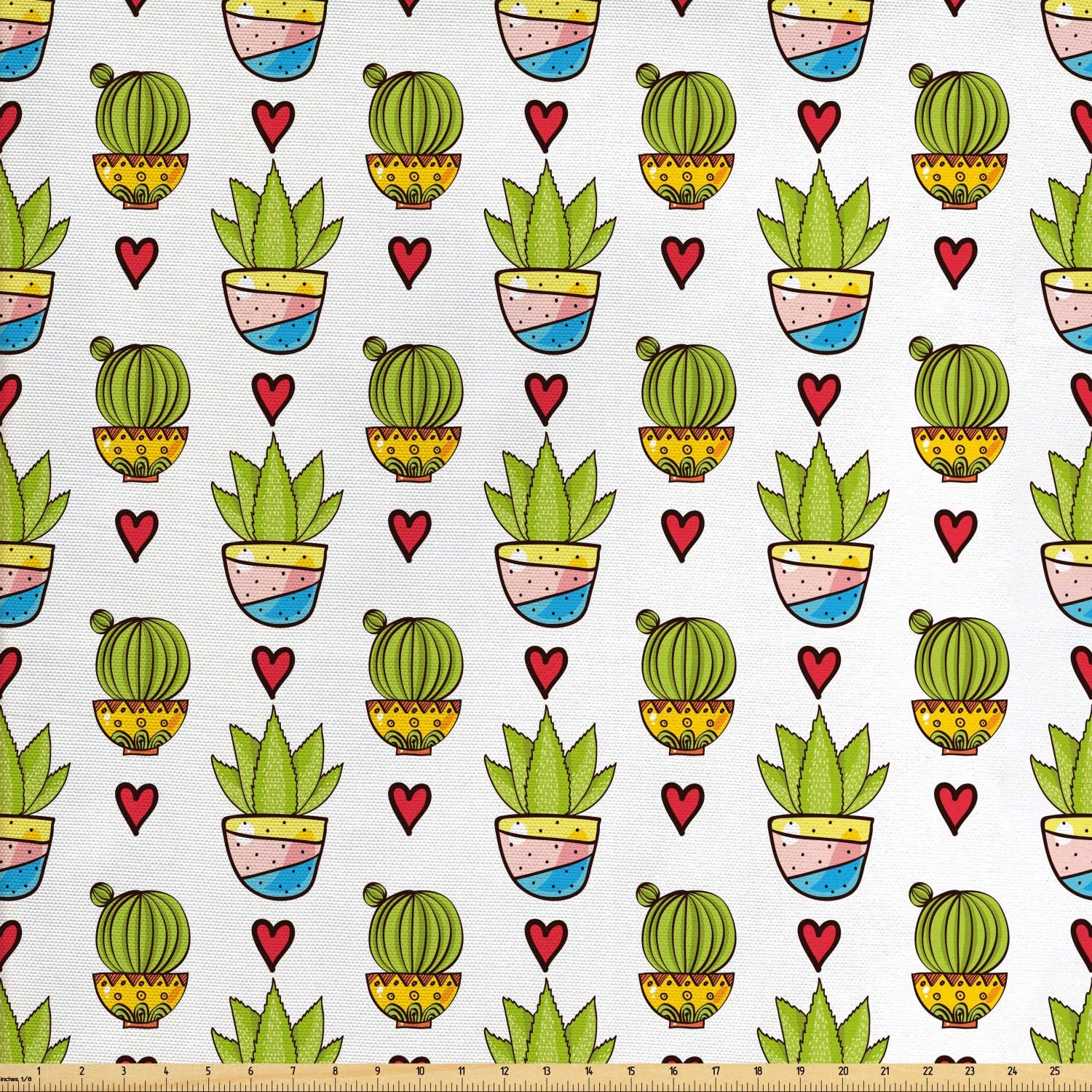 Ambesonne Cactus Fabric by The Yard, Illustration of Colorful Desert Plantation Succulents in Pots and Doodle Hearts, Decorative Fabric for Upholstery and Home Accents, 1 Yard, Multicolor