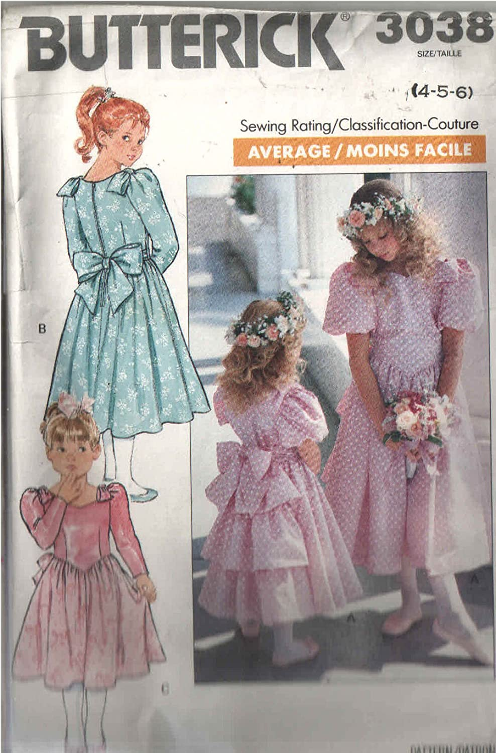 Butterick 3038 Girls Sewing Pattern for Special Occasion Dresses with Triple Fuffled Back Panel or Shoulder Bows Back TIE Sash Dresses with Sleeve Choices