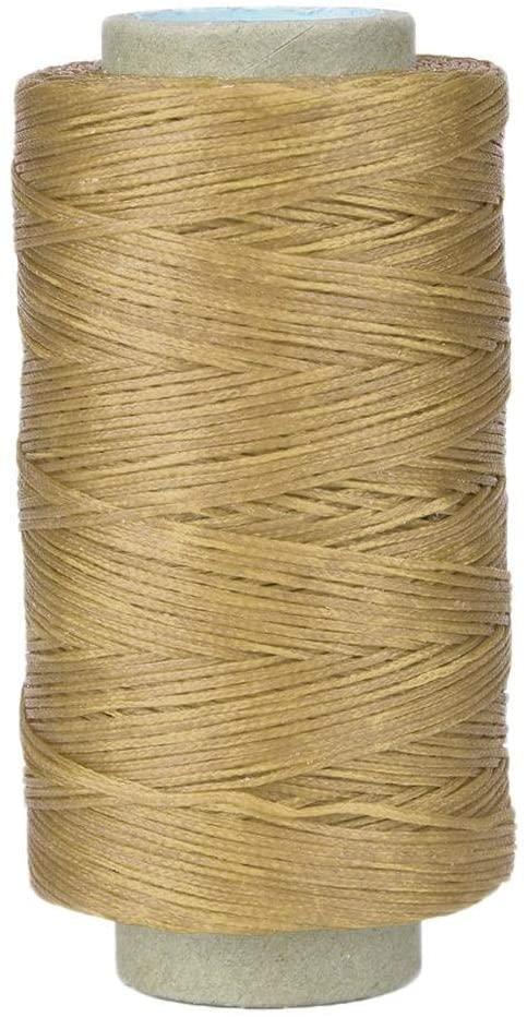 GLOGLOW 250m Leather Sewing Thread, 150D Leather Crafts Flat Sewing Thread Hand Stitching Waxed Thread Cord for DIY Sewing Craft(Natural Color)
