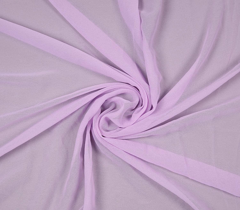 "mds Pack of 35 Yard Bridal Solid Chiffon Fabric, Vintage Sheer Fabric Bolt for Wedding Dress, DIY Decoration, Sheer, Crafts, Silky Chiffon Fabrics 44"" - Lavender"