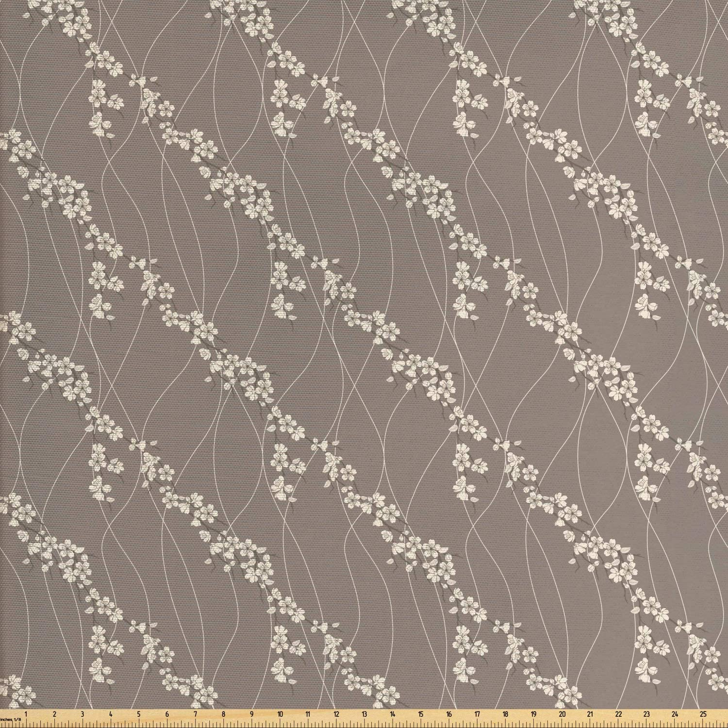 Lunarable Japanese Fabric by The Yard, Abstract Sakura Flowers on Branches Wavy Vertical Lines Pattern, Decorative Fabric for Upholstery and Home Accents, 3 Yards, Cream