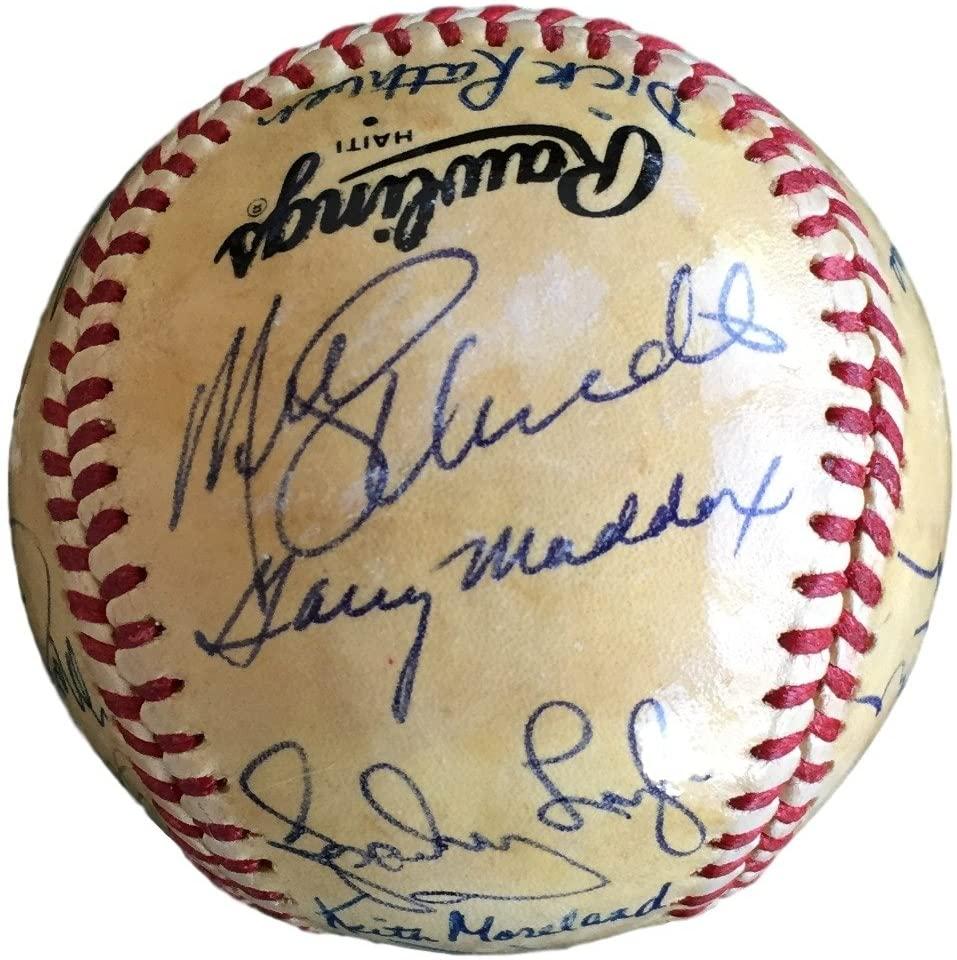 1980 Phillies Team Signed NL Baseball McGraw Schmidt Rose Carlton 21 Sigs JSA
