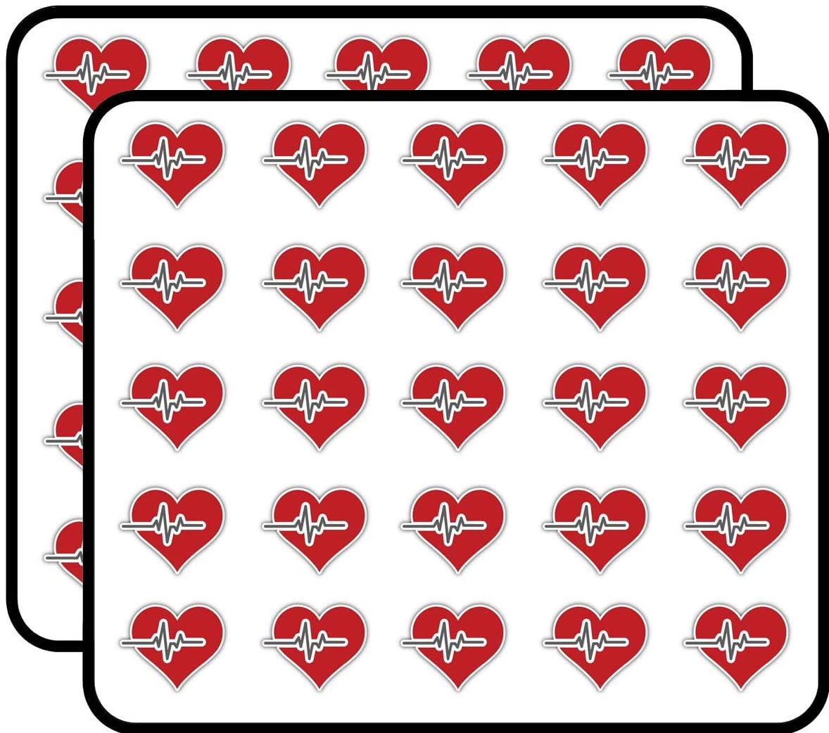 Heart Medicine Symbol Emblem Art Decor Sticker for Scrapbooking, Calendars, Arts, Kids DIY Crafts, Album, Bullet Journals 50 Pack