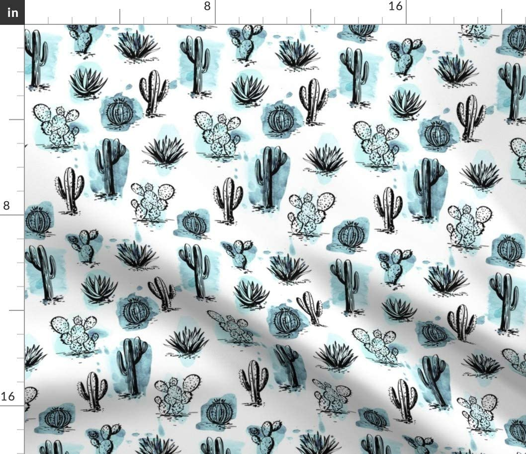 Spoonflower Fabric - Cacti Garden Watercolor Cactus Plants Turquoise Desert Paradise Printed on Cotton Poplin Fabric by The Yard - Sewing Shirting Quilting Dresses Apparel Crafts