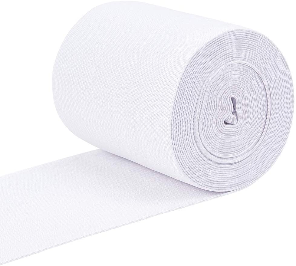BENECREAT 4.5 Inch by 6.5 Yards Knit Elastic Band Flat Stretch Elastic Band for DIY Sewing Project Waist Band Making, White
