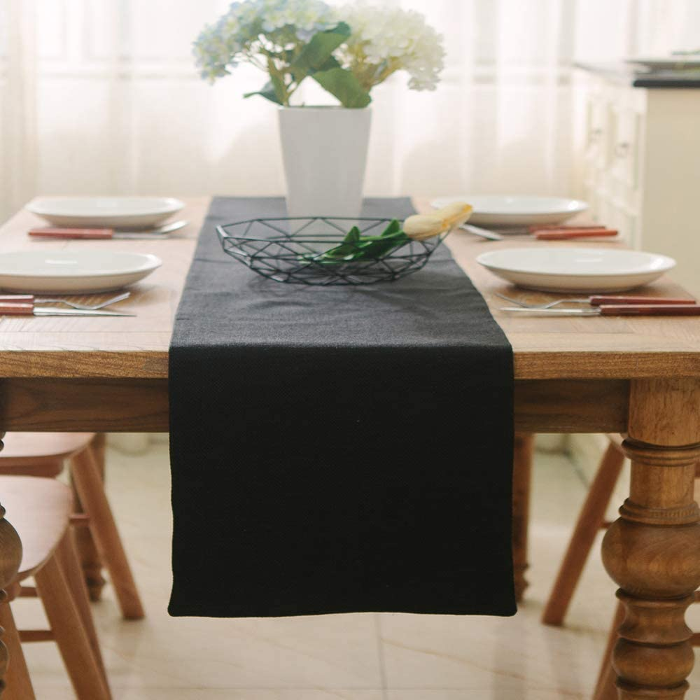 NATUS WEAVER Dinning Table Runner 12 x 90 Inches Farmhouse Kitchen Coffee Burlap Table Runner for Holiday Party, Black