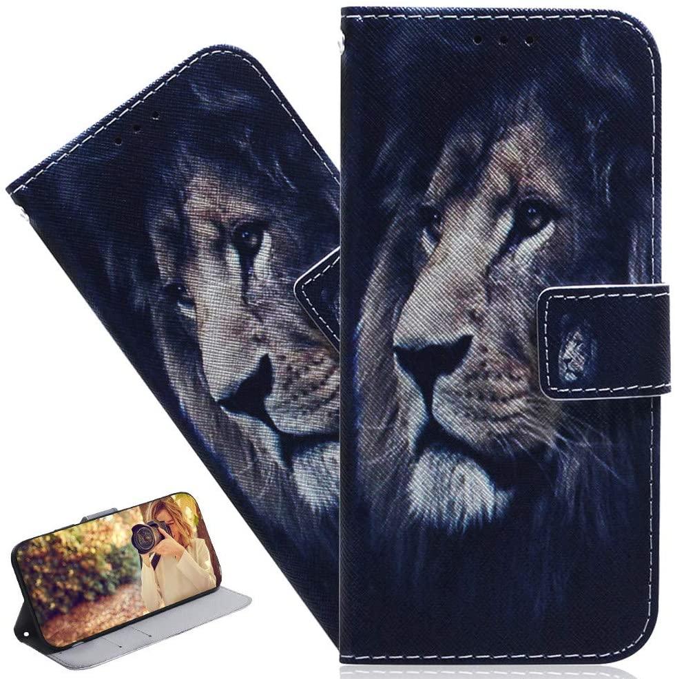 ISADENSER Moto G7 Case Moto G7 Plus Case Stylish Girly Women Case [Wallet Stand] Kickstand Credit Cards Slot Cash Pockets PU Leather Flip Wallet Case for Motorola Moto G7 / G7 Plus Sad Lion TX